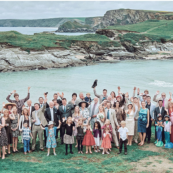 UK, Cornwall seaside wedding